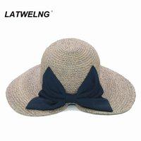 Latwelng Оригинальный дизайн мода лук лето солнце пляжные шапки для женщин складные праздничные козырьки UV Hat Haties Big Breim чаепития шляпа Q0305