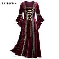 Kleid Maxi Bandage Frau Vintage keltische mittelalterliche Arthülle-Ärmelt Kleidung Gothic Renaissance Cosplay Dropship