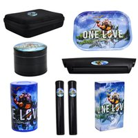 Tobacco Kit Smoking Metal Rolling Tray Plastic Airtight Herb Container Zinc Alloy Smoke Grinder With Cigarette 14 design Bag Roller Machine Set