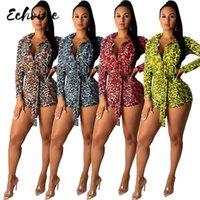 Echoine Cheetah LeoPard Paysuit для женщин Sexy Bodycon Code Conse Отвернуть воротник с длинным рукавом Prated Romper Rampsuits Ream
