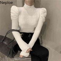 Neploe Fashion Pleated Sweaters for Women Elegant Puff Sleeve White Slim Tops Korean Turtleneck Sweater Jumper Fall Clothes 210918