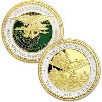 Arti e artigianato US Navy Seals Sea Air Air Land Naval Special Gara Area Command Gold Plated Challenge Coin
