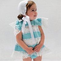 2021 roupas de bebê primavera primavera meninas meninas conjuntos ins retalhos de renda t-shirt de manga voadora + shorts pp calças de duas peças h23n1vu