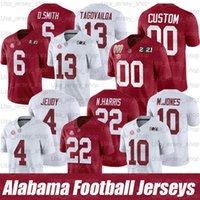 2021 Alabama Custom Alabama Maré Vermelha Futebol Vermelho Branco # 4 Brian Robinson Jr. # 6 Devona Smith D. Smith # 22 Najee Harris N.Nyname Jersey