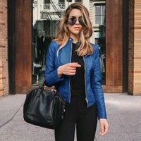 Women's Jackets Women Leather Jacket Zipper Spring Solid Color Long Sleeve Pu Motorcycle Outwear Coat Stand Collar 2021 Female Fashion C2905