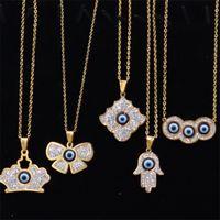 터키어 푸른 악마 눈 목걸이 여성 티타늄 강철 크라운 키 꽃 동물 심장 아이스 펜던트 쥬얼리 패션 다이아몬드 목걸이 선물