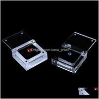 Свободные алмазные бусины отображают коробку с крышкой Магнитная замыкание Очистить акриловый квадратный драгоценный камень фондовые презентации Маленький чехол BNSBY 5T3VA