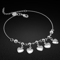 100% 925 Anklet Women's Classic Solid Heart Ankle Silver Chain Summer Fashion Jewelry Footwear Prata de le