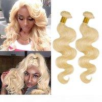 Brasiliani peruviana indiana indiana malisiana mongolo estensioni dei capelli umani 10-30 pollici 2 pacchi 613 # Wave Bionde Wave Virgin Hair Wefts 613 # Colore