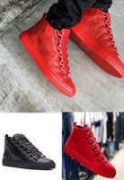 High Quality Brand Arena Shoes Mens casual shoe High-Top Sneaker for Men's Flat Wrinkle Leather Trainer Party Luxury designer trainers black red white