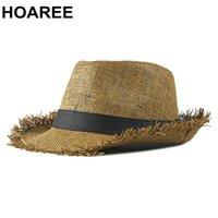 Guzee Beach Chapéu Homens Verão Panamá Cap Casual Trilby Fedora Chapéu Masculino Chapéu de Palha UV Proteção UV Grande Brim Sombrero C0305 Y0910