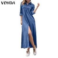 Günlük Elbiseler Vonda 2021 Kadınlar Uzun Kollu Denim Gömlek Elbise Vintage Yaka Boyun Düğmesi Aşağı Parti Vestidos Boy Bornoz