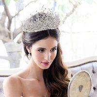 Luxury African Rhinestone Wedding Crown Silver Pageant Tiara Crowns Chic Bride Headbands Wedding Hair Accessories with Earrings