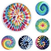 Carpet Cloth Picnic Mat Kids Blankets Beach Blanket Rainbow Tie Dyed Round Towel Microfiber Home Decoration Baby Swaddle Wraps Boutique G71EAGJ