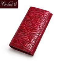 Wallets Contact's Fashion Wallet Women Genuine Leather Coin Purse Female Long Walet Card Holder Money Bag With Phone Pocket Lady Clutch