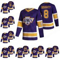 La Angeles Kings 8 Drew Doughty 2021 عكس الرجعية الفانيلة جيف كارتر آنزي كوبيتار وين Gretzky جوناثان Quick Towler Tofli Jake Muzzin Blake Lizotte Jersey