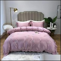 Supplies Textiles Home & Gardenluxurious Washed Silk Cotton Solid Bedding Sets Queen King Sheet Bedclothes Quilt Flat Comforter Duvet Er Siz