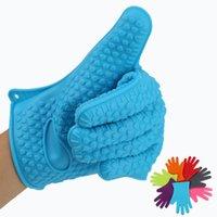 Neue Silikon BBQ Handschuhe Anti Slip Hitzebeständige Mikrowellenofen Topf Backen Kochen Küche Werkzeug Fünf Fingers Handschuhe WWA156