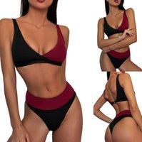 Women's Swimwear 2 Pcs Women Color Block Bathing Suits Adults Sexy Ribbed V-neck Bikini Tops + Bottoms