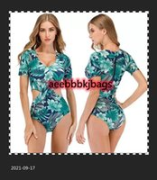 Bikinis Set Bunvel Back Zipper Surf Rash Guard Hollow Out Floral Impresso Swimsuit One Peça Swimwear Mulheres Rashguard Swimsuit1