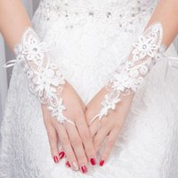 Five Fingers Gloves Beauty Girl Master Of Ceremonies Gown White Short Style Lace Diamond Trim Ceremonial