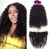 Alinybeauty Brazilian Deep Wave Hair Bundles With Frontal Closure 13x4 100% Unprocessed Human Hair Weave Bundles Deep Wave