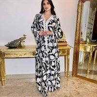 Сискакия Этническое длинное платье для женщин ленты V шеи с длинным рукавом Maxi платья свободного плюс размер средней восточной мусульманской арабской одежды 210224