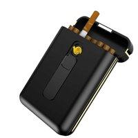 20pcs Capacity Cigarette Case with USB Electronic Lighter Cigar Holder Cigarette Lighter for Regular Cigarette Gadgets For Men 210724