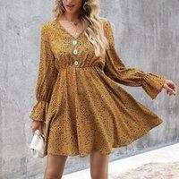 Casual Dresses 2021 Summer Chiffon Dress Women Leopard Print Boho Beach Ruffle Long Sleeve A-line Mini Party Vestidos