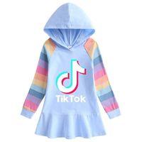 Tiktok New Girl's Dress Long Tshirts Hooded Hoodies TikTok Long Sleeve Cartoon Rainbow Dresses Princess Skirts Baby Girls Clothes G7203VG