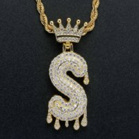 26 18k Gold Water Drop English letter Crown Necklace Jewelry Se Cubic Zirconia Initial Diamond Pendant Hip Hop Necklaces Bling for Women Men Stainless Steel Chain