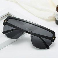 Occhiali da sole Fashion Semi-ririmless One-Piece Women Oloy Brand Personality Trendy Leopard Guida Guida di grandi dimensioni UV400 Oculos