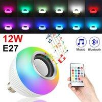 Bulbos E27 Sem Fio Bluetooth Speaker + 12W RGB Lâmpada LED Lâmpada 100-240V Luz inteligente Luz de música Áudio com controle remoto