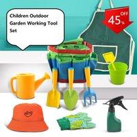 Professional Hand Tool Sets Kids Gardening Set, Designed For Kids, STEM, Tote Bag, Spade, Watering Can, Rake, Fork, Trowel, Gloves