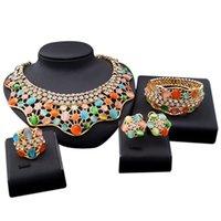 YULAILI di alta qualità Turchia di cristallo rotondo colorato Opal Big Choker Orecchini Dubai Set di gioielli Dubai per le donne Nigeria africana Nigeria regali