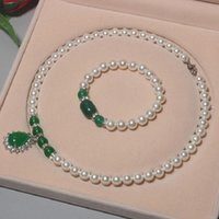 Earrings & Necklace Natural Deep Sea Shell Pearl Jewelry Set 8mm Bead Bracelet Water Drop