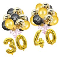 Party Decoration 30th Birthday Balloons Gold Black Latex Ballons Adult 30 40 50 60 Confetti Balloon Supplie