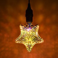 AC 85-265V Edison colorato 3D vetro fuochi d'artificio a led lampadine natalizie bar ristorante festival creativo personalità decorazione a cinque punte stelle artificio