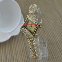 新しいファッション高品質Rhombus diamondブレスレット全体試合クォーツレディウォッチ小さな女の子腕時計20.5mm女性を見る女性の時計