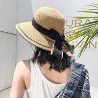 Wide Brim Hats Summer Bow Women's Sun Protection Hat Straw Visor Beach Bucket For Women