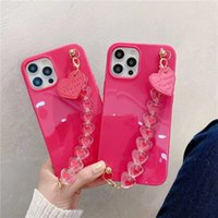 Love Heart Chain Silicone Glossy Phone Case On For Iphone X S Max Iphonex R 10 Xr Se 2 2020 11 12 Pro Girl Cute Soft Cover Funda
