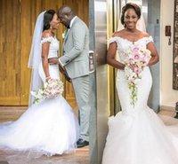 2022 Mermaid Wedding Dresses Bridal Gown Lace Applique Off the Shoulder Neckline Satin Tulle Custom Made Dubai Plus Size Vestido de novia Chapel Castle