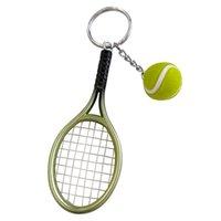 لطيف الرياضة مصغرة مضرب تنس قلادة سلسلة المفاتيح كيرينغ مفتاح سلسلة للنساء الرجال سيارة كيرينغ سحر حقيبة قلادة مجوهرات هدايا