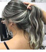 Diva Longa Cinza Ondulado Humano Cabelo Humano Cauda Cauda Cauda Cordilheira Cinzenta Mulheres Rabotail Hair Extension Sal e Pimenta Natural Destaques 120G