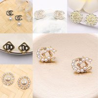 18K Gold Plated Brand Designers Letters Stud Earrings Brand Charm Women Silver Crystal Rhinestone Pearl Earring for Wedding Party Jewerlry Accessories