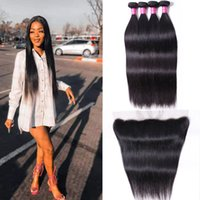 Long Human Hair Bundles 10-30 inch With 13x4 Lace Frontal Straight Peruvian India Virgin Extensions for Women Natural Black