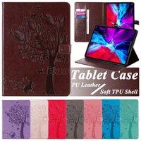 PU-Leder-Tablet-Fälle für Apple iPad 8./7. Generation 10.2 PRO 11 AIR 1 2 3 4 9.7 Mini 5 7.9 Zoll Samsung Galaxy Registerkarte A 8.0 T290 T295 Katzenbaum Prägung Flip Stand Cover Case
