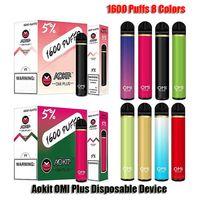 Authentic AOKIT OMI Plus Disposable E-cigarettes Device Kit 1600 Puffs 800mAh Battery 5.3ml Prefilled Pod Cartridge Vape Pen VS Cube 2