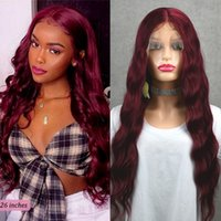 99J Wine Red Lace Front Wigs 13x4 Burgundy Transparent Synthetic Deep Wave Wigs Brazilian 30inch T Part Wigs Pre Plucked For Women