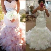 2022 Plus Size Mermaid Wedding Dresses Bridal Gown Tiered Skirt Beaded Crystals Sweetheart Neckline Custom Made Sleeveless Country Castle vestido de novia